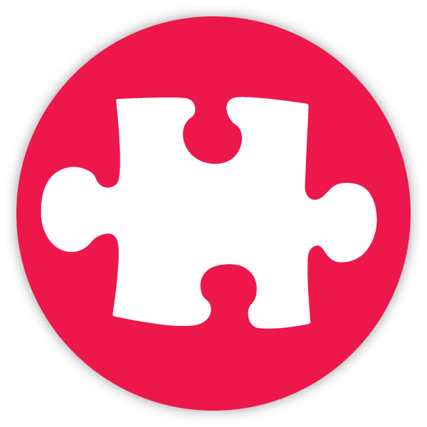 Puzzle toy icon red